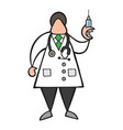 cartoon doctor man with stethoscope and standing vector image vector image