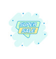 cartoon super sale banner icon in comic style vector image