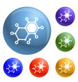 chemical element molecule icons set vector image