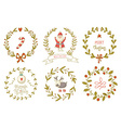 Christmas wreaths set with Santa Claus and and vector image vector image