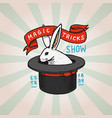 circus rabbit in cylinder hat badge retro cute vector image vector image