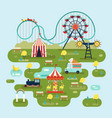 circus with attractions or amusement park map vector image vector image