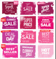 collection pink grunge retro sale background vector image