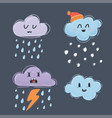cute clouds with funny vector image