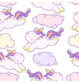 cute kawaii unicorn with magical clouds vector image vector image