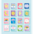 cute stamps weather fantasy clouds sun moon vector image vector image