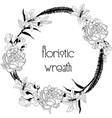 delicate floristic wreath flower design frame vector image