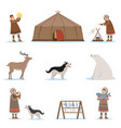 eskimo characters in traditional clothing arctic vector image vector image