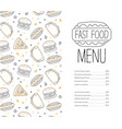 fast food menu template tasty dishes restaurant vector image vector image