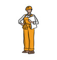 female construction worker holding project vector image