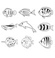 fish cartoon icons vector image vector image