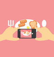 flat lay mobile food photo hands with phone vector image vector image