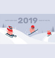 funny cartoon pigs sliding skiing and vector image vector image