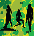 girl on a leaf background silhouette vector image vector image