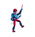 girl rock climber in sports equipment backpack vector image