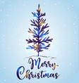 hand drawn christmas tree in the snow vector image vector image