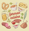 hand drawn german cuisine food doodle vector image