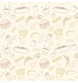 Hand-drawn seamless fast food pattern vector image vector image