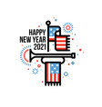 happy new year 2021 with american flag and bugle vector image vector image