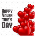 happy valentines day card 2018 with red hearts vector image