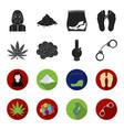 hemp leaf ecstasy pill handcuffs bongdrug set vector image vector image