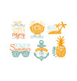 hot summer sale labels set enjoy summer vacation vector image vector image