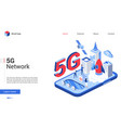 isometric 5g telecom network technology vector image vector image