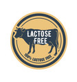 lactose free product label with cow logo or icon vector image vector image