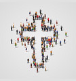 large group people in cross shape vector image