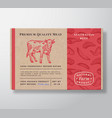 meat pattern realistic cardboard box container vector image vector image