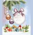 merry christmas background with branches of tree vector image vector image