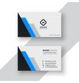 minimal blue geometric business card design vector image vector image