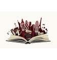 open book with landmarks to world vector image