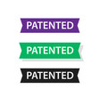 patented badge label ribbon set patent tag vector image vector image