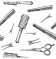 Pattern with hairdressers tools