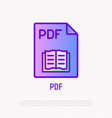 pdf file format thin line icon modern vector image