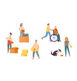 people character volunteer care for senior set vector image