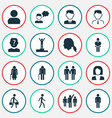 person icons set with employee leader job woman vector image