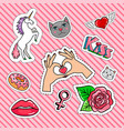 romantic quirky badges set vector image vector image