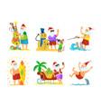 santa claus and monkey decorating umbrella snowman vector image vector image