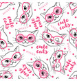 seamless pattern with cute cats isolated on white vector image