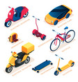 set isolated eco or ecology transport vehicle vector image