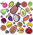 set of colorful fruit icons isolated on a white vector image
