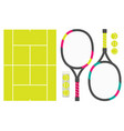 set of tennis rackets cord and tennis balls vector image vector image