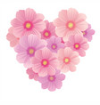 spring background with gentle heart from flowers vector image vector image