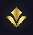 square letter v gold logo vector image vector image