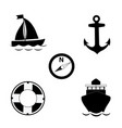 summer travel sea icon set isolated on white vector image