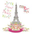 Travel to Paris cute poster with flowers and bird vector image vector image