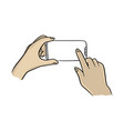 two hands using smartphone with notch display vector image