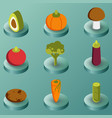vegetebles color isometric icons vector image vector image